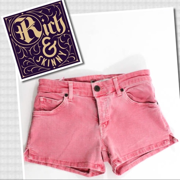 Rich & Skinny Pants - Rich & Skinny Pink Cotton Button Denim Shorts 25